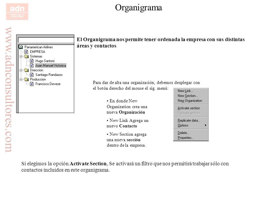 Organigrama El Organigrama nos permite tener ordenada la empresa con sus distintas áreas y contactos.