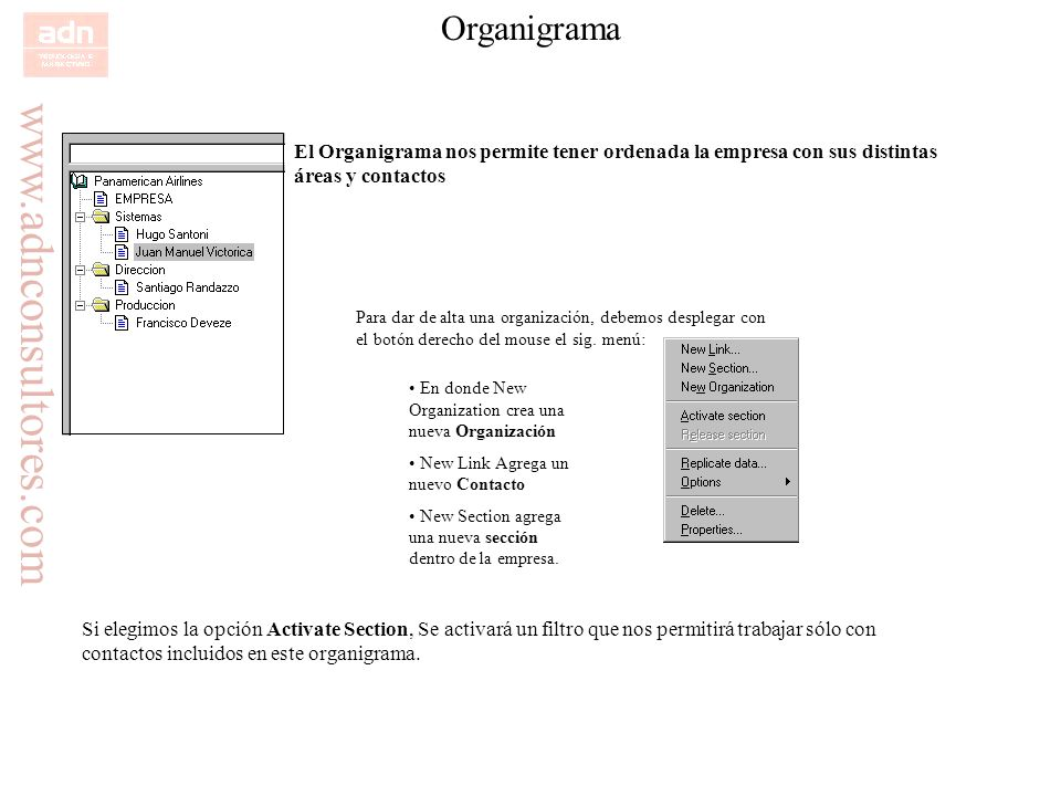 OrganigramaEl Organigrama nos permite tener ordenada la empresa con sus distintas áreas y contactos.