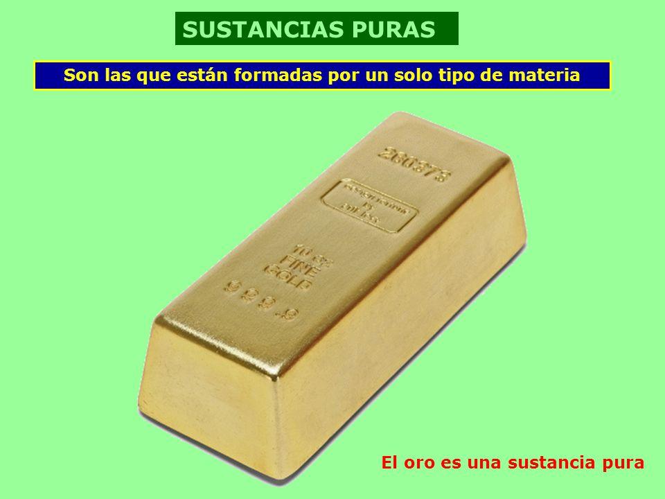 SUSTANCIAS PURAS Son las que están formadas por un solo tipo de materia.