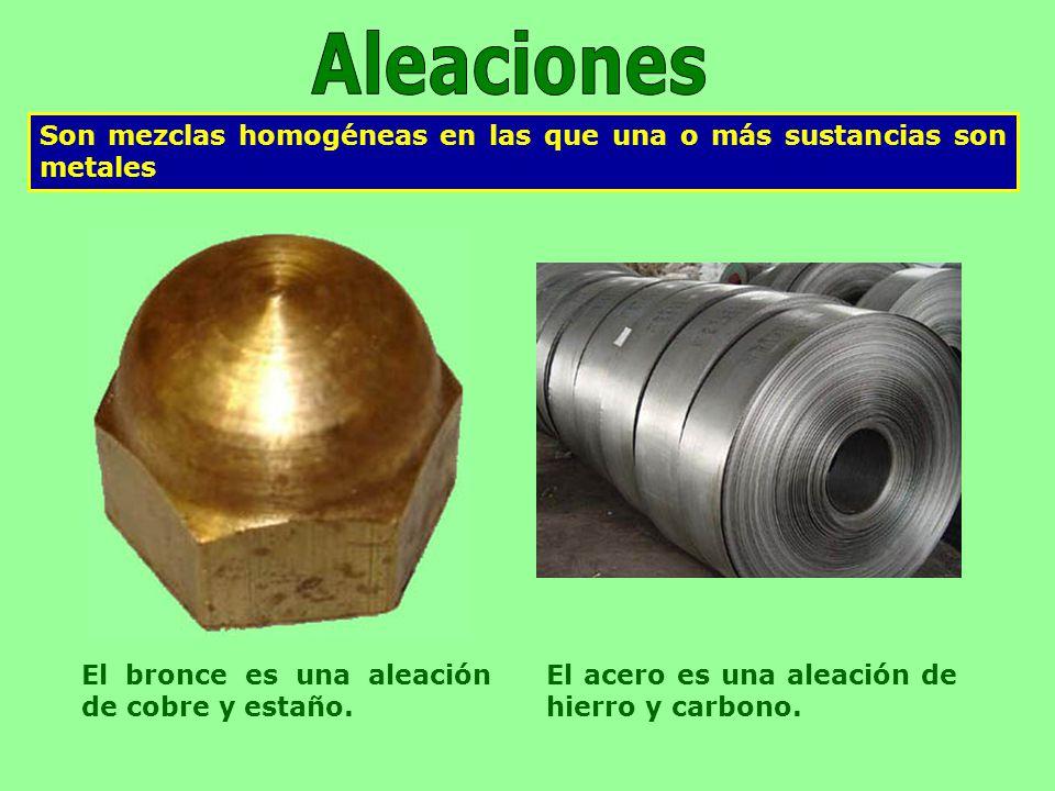 Aleaciones Son mezclas homogéneas en las que una o más sustancias son metales. El bronce es una aleación de cobre y estaño.