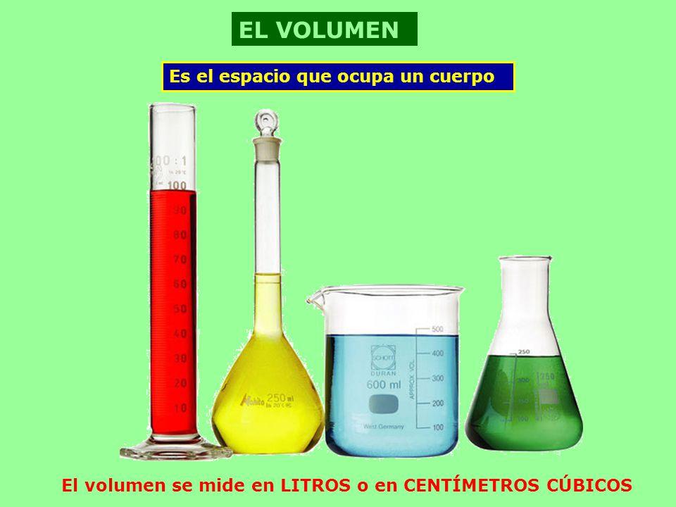 El volumen se mide en LITROS o en CENTÍMETROS CÚBICOS