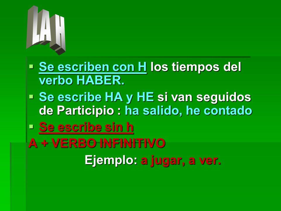 LA H Se escriben con H los tiempos del verbo HABER.