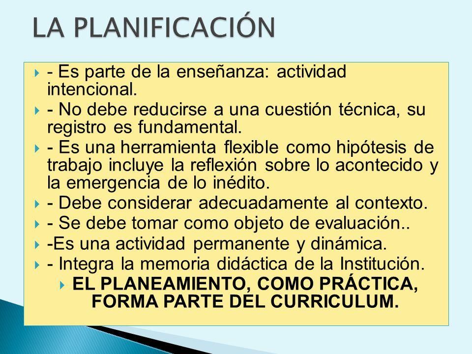 EL PLANEAMIENTO, COMO PRÁCTICA, FORMA PARTE DEL CURRICULUM.