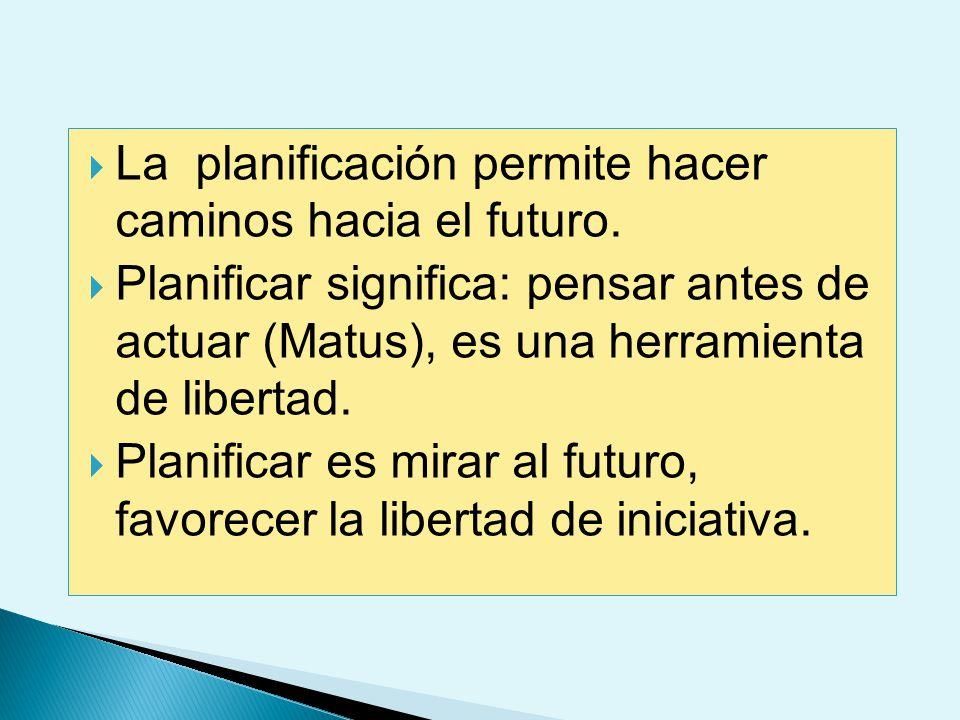 La planificación permite hacer caminos hacia el futuro.