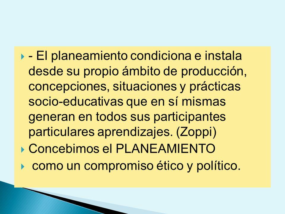 - El planeamiento condiciona e instala desde su propio ámbito de producción, concepciones, situaciones y prácticas socio-educativas que en sí mismas generan en todos sus participantes particulares aprendizajes. (Zoppi)