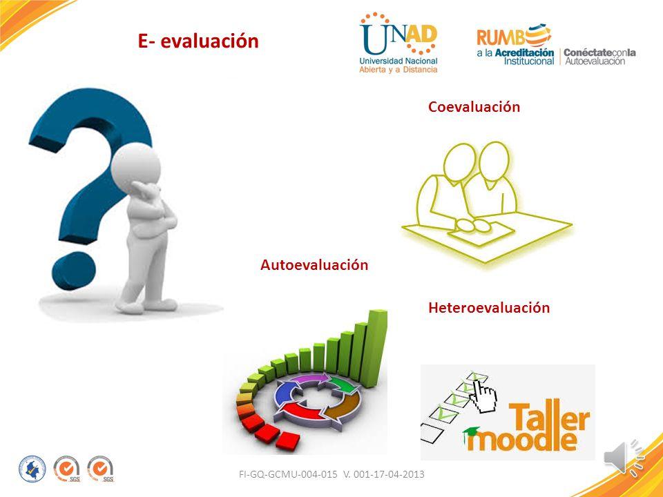 E- evaluación Coevaluación Autoevaluación Heteroevaluación