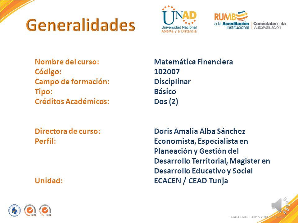 Generalidades Nombre del curso: Matemática Financiera Código: 102007