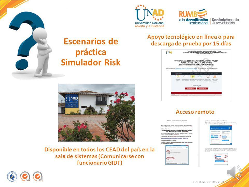 Escenarios de práctica Simulador Risk