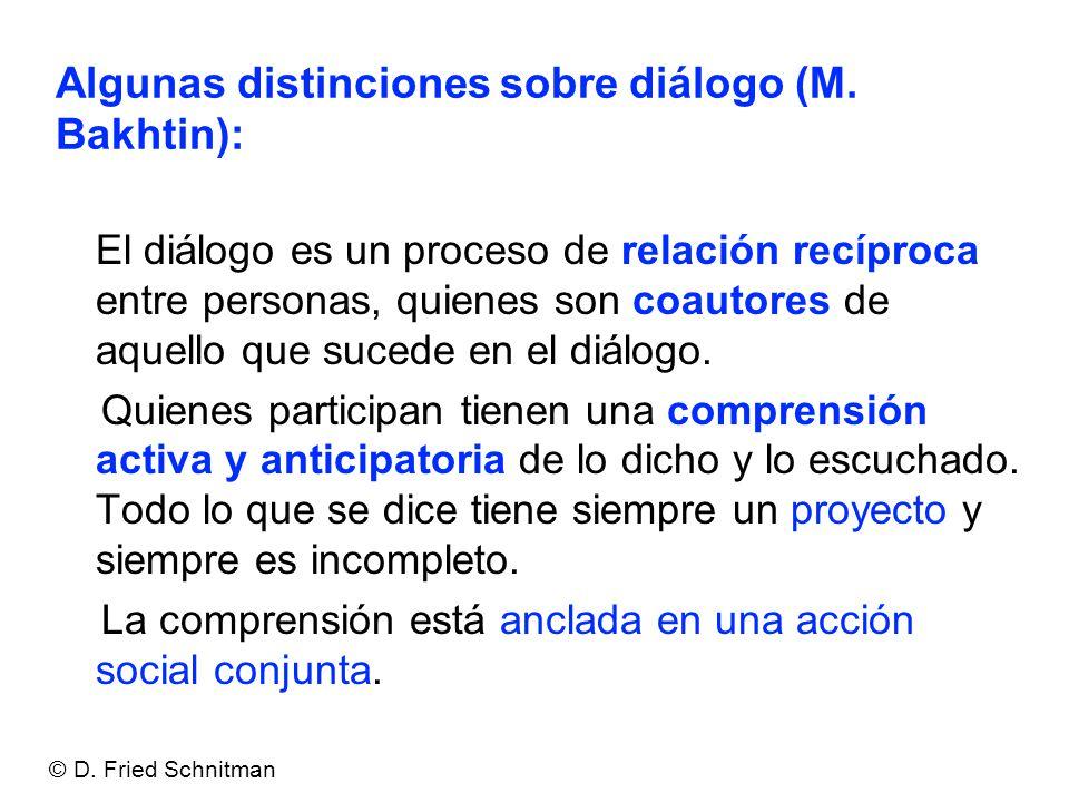 Algunas distinciones sobre diálogo (M. Bakhtin):