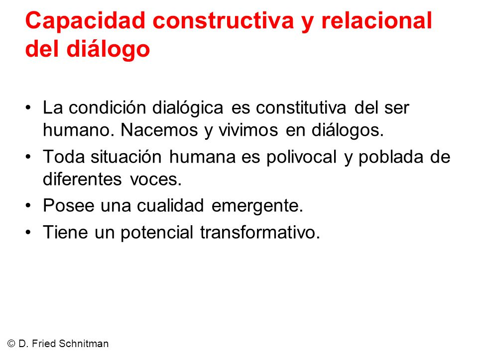 Capacidad constructiva y relacional del diálogo