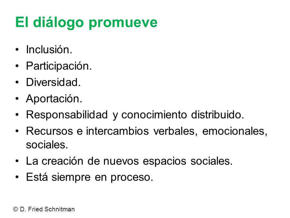 El diálogo promueve Inclusión. Participación. Diversidad. Aportación.
