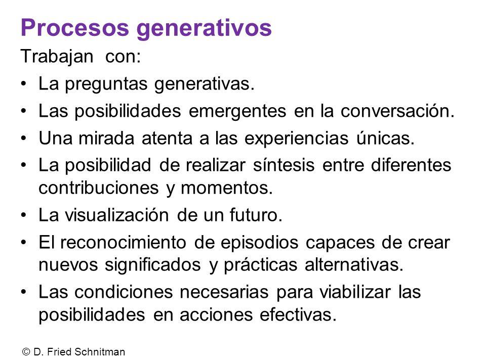 Procesos generativos Trabajan con: La preguntas generativas.