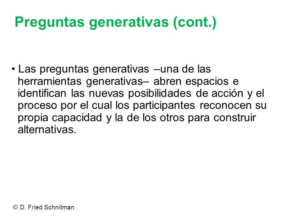 Preguntas generativas (cont.)