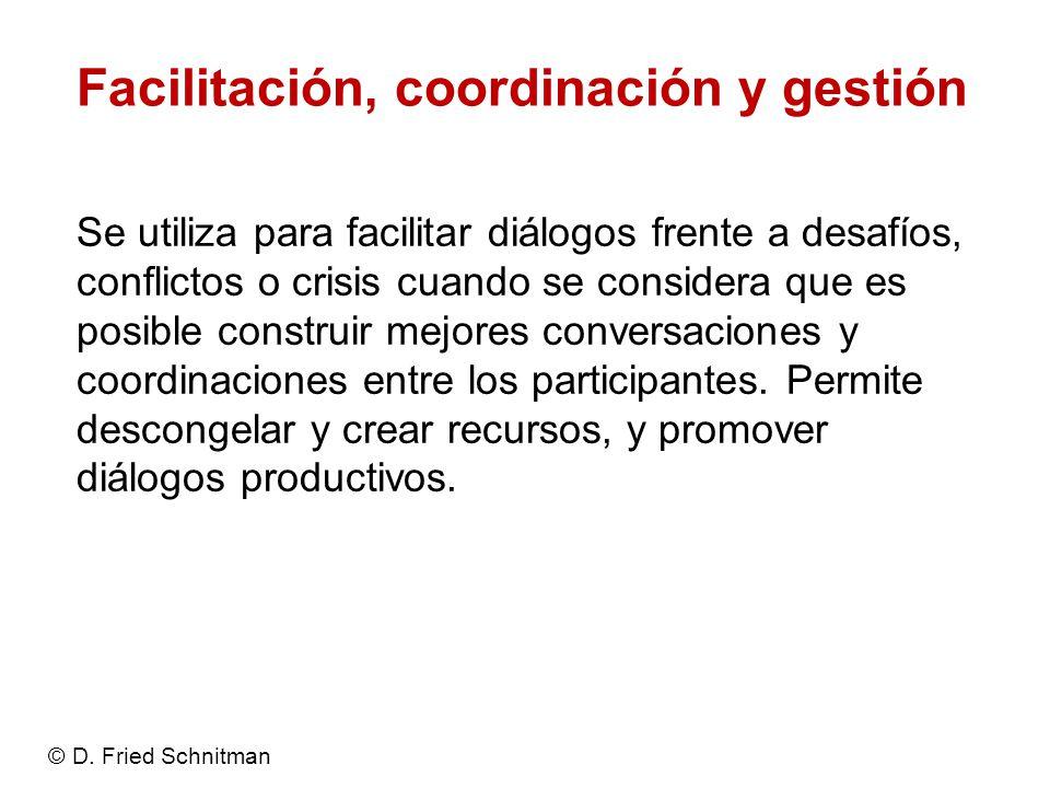Facilitación, coordinación y gestión