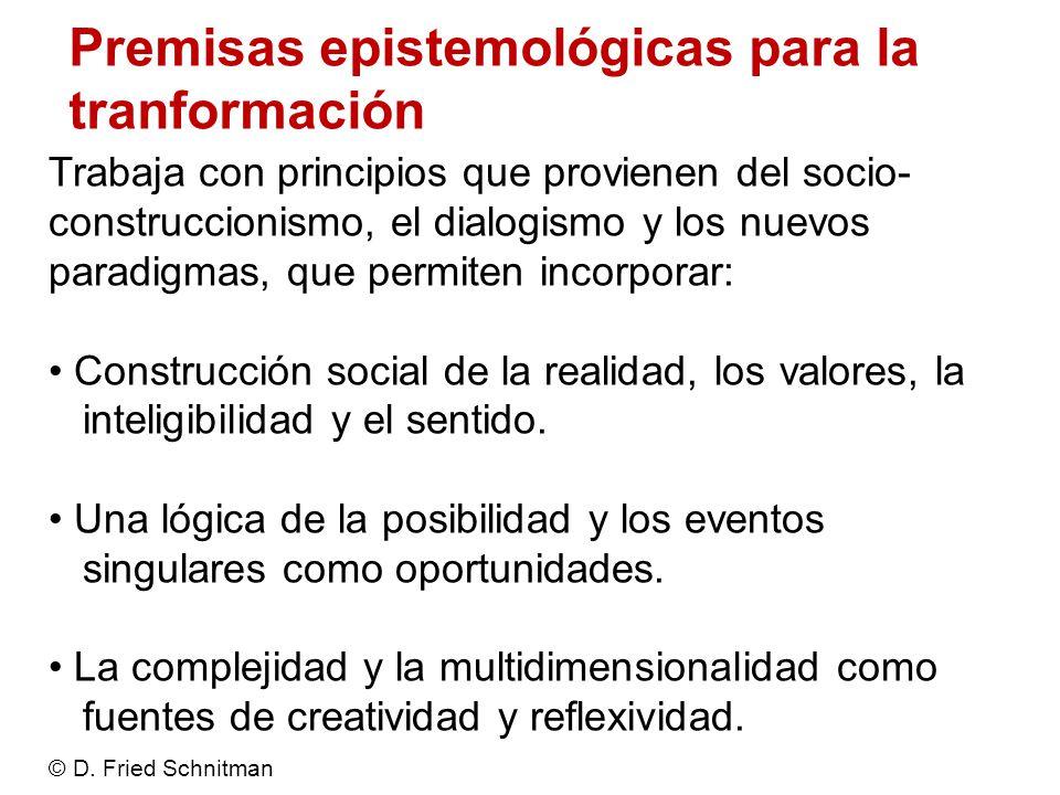 Premisas epistemológicas para la tranformación