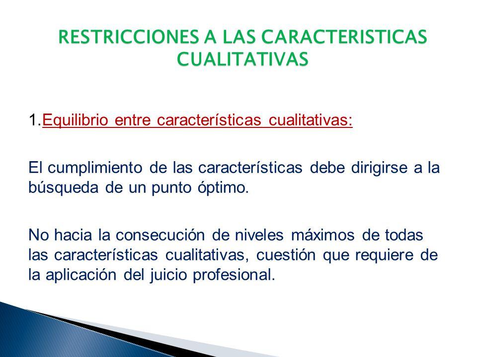 RESTRICCIONES A LAS CARACTERISTICAS CUALITATIVAS