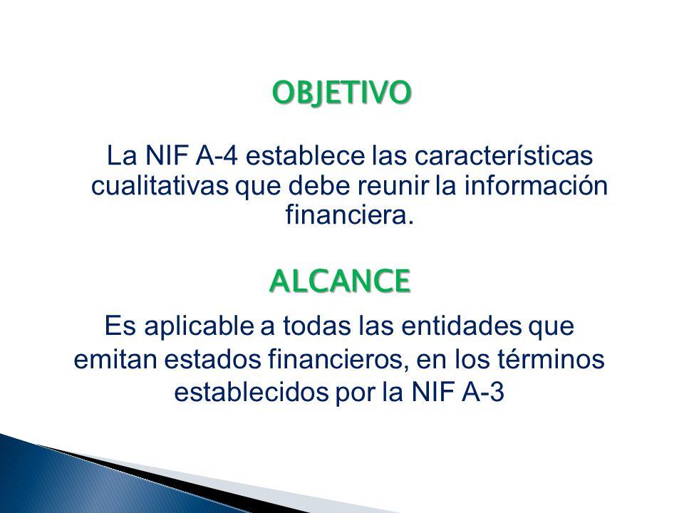 OBJETIVO La NIF A-4 establece las características cualitativas que debe reunir la información financiera.