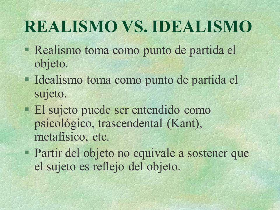 REALISMO VS. IDEALISMO Realismo toma como punto de partida el objeto.