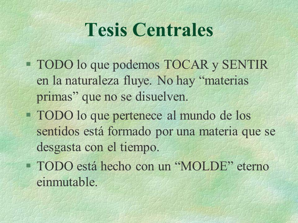 Tesis Centrales TODO lo que podemos TOCAR y SENTIR en la naturaleza fluye. No hay materias primas que no se disuelven.