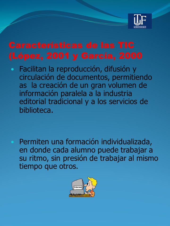 Características de las TIC (López, 2001 y García, 2000