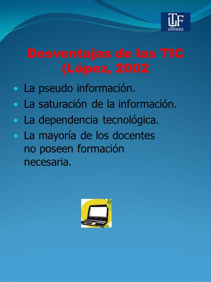 Desventajas de las TIC (López, 2002