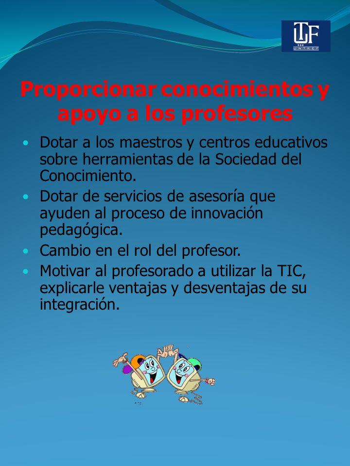 Proporcionar conocimientos y apoyo a los profesores