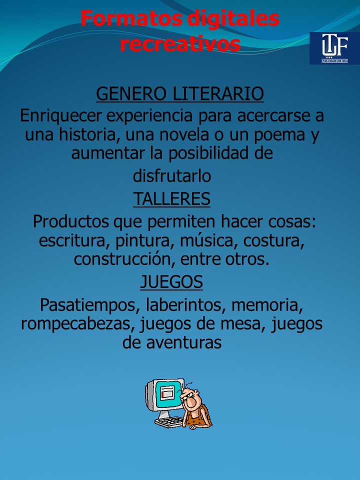 Formatos digitales recreativos GENERO LITERARIO