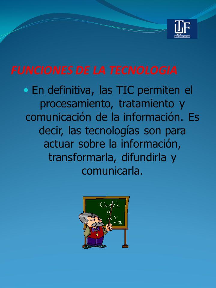 FUNCIONES DE LA TECNOLOGIA