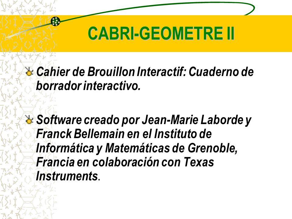 CABRI-GEOMETRE II Cahier de Brouillon Interactif: Cuaderno de borrador interactivo.