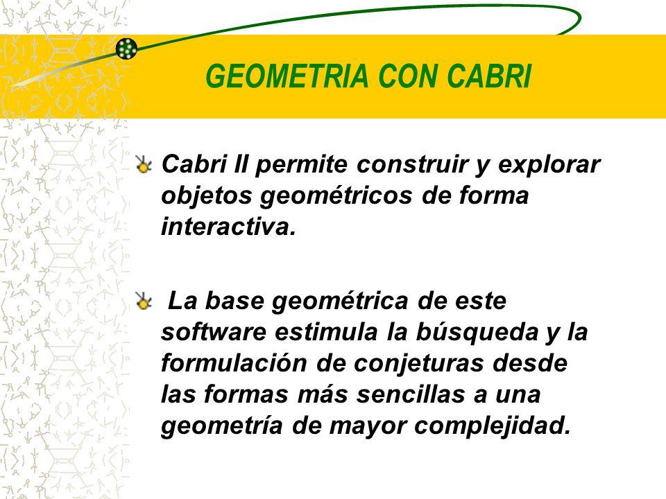 GEOMETRIA CON CABRI Cabri II permite construir y explorar objetos geométricos de forma interactiva.
