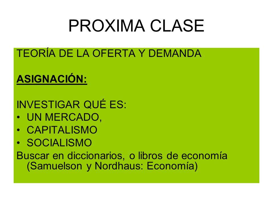 PROXIMA CLASE TEORÍA DE LA OFERTA Y DEMANDA ASIGNACIÓN: