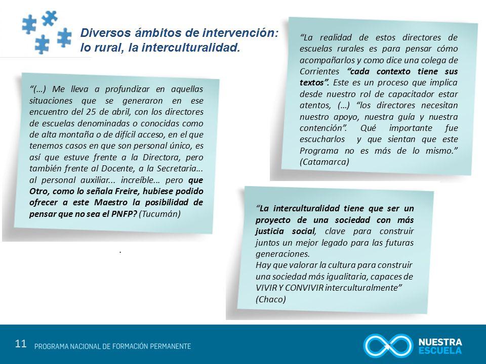 Diversos ámbitos de intervención: lo rural, la interculturalidad.