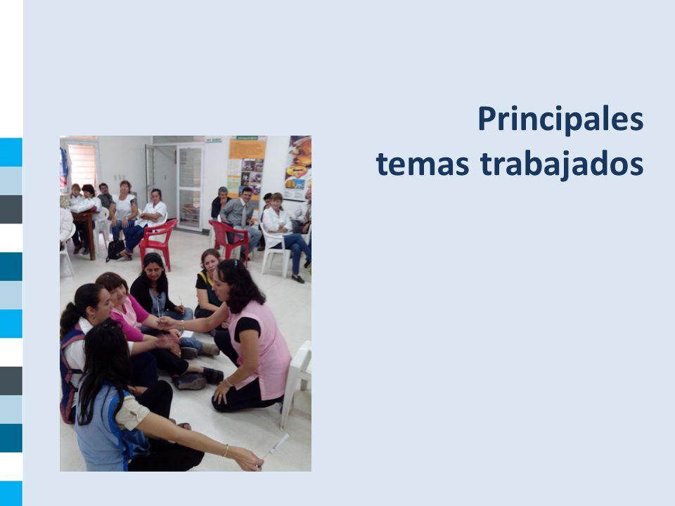 Principales temas trabajados Componente Institucional Julio 2014
