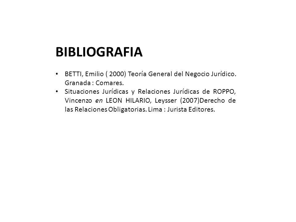 BIBLIOGRAFIA BETTI, Emilio ( 2000) Teoría General del Negocio Jurídico. Granada : Comares.