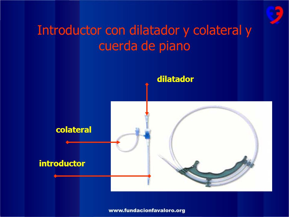 Introductor con dilatador y colateral y cuerda de piano