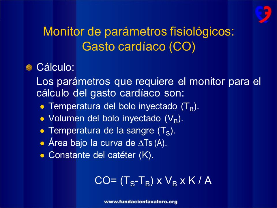 Monitor de parámetros fisiológicos: Gasto cardíaco (CO)