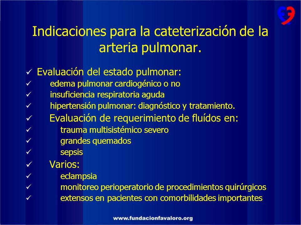 Indicaciones para la cateterización de la arteria pulmonar.