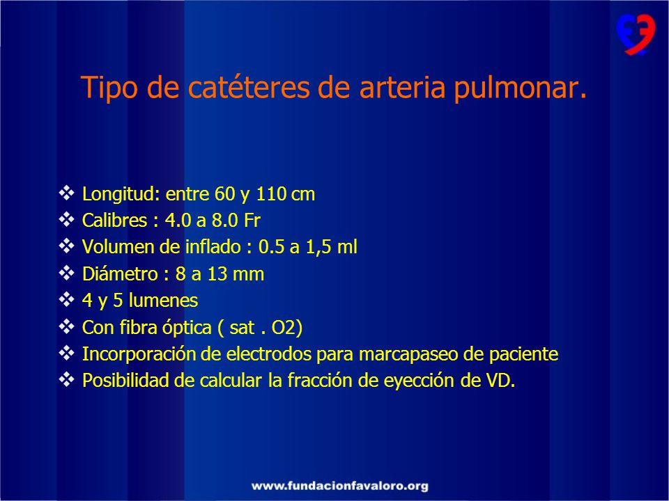 Tipo de catéteres de arteria pulmonar.