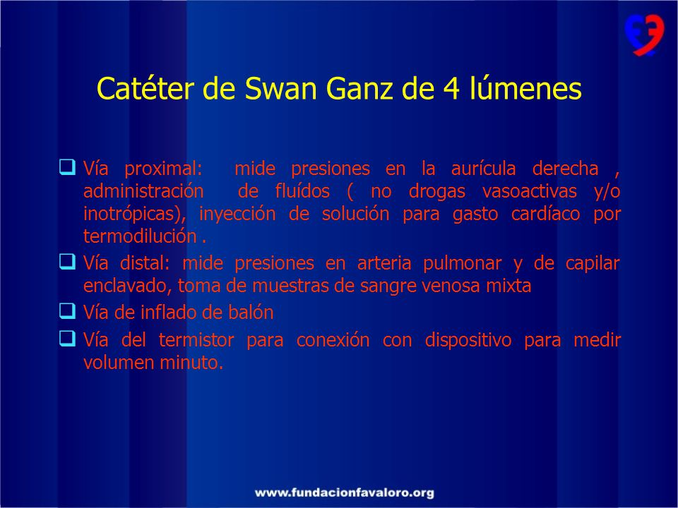 Catéter de Swan Ganz de 4 lúmenes