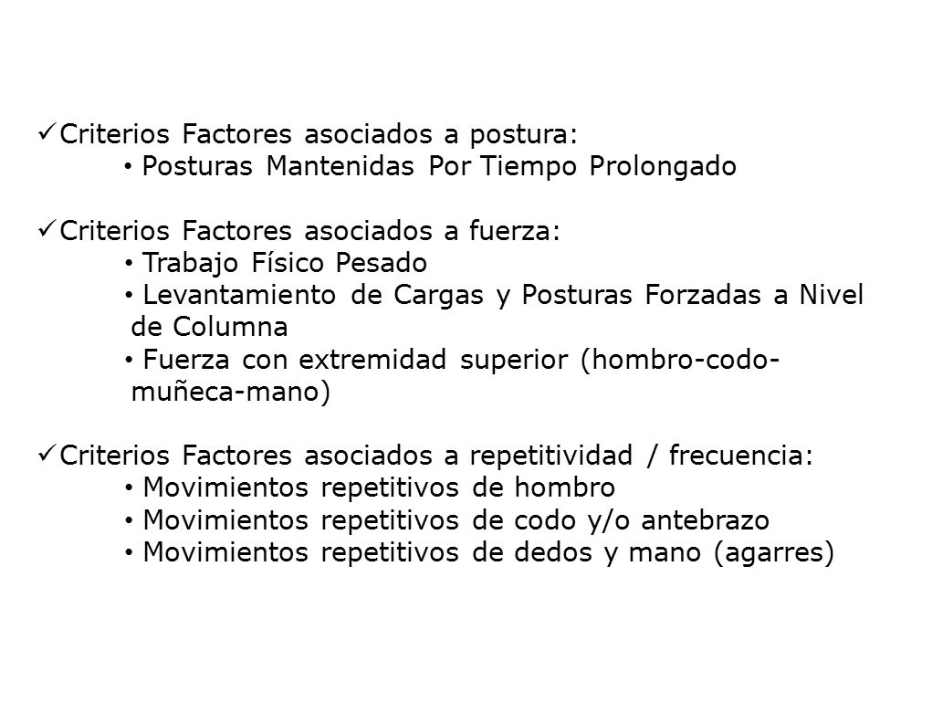 Criterios para calificar peligro ergonómico