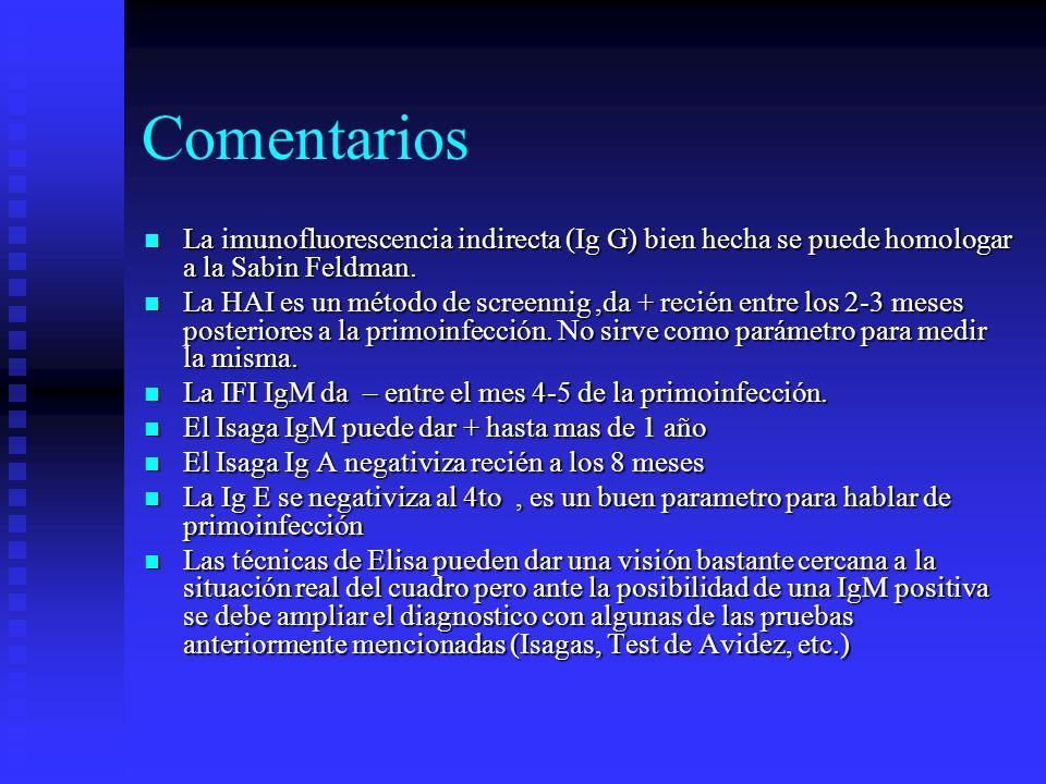 Comentarios La imunofluorescencia indirecta (Ig G) bien hecha se puede homologar a la Sabin Feldman.