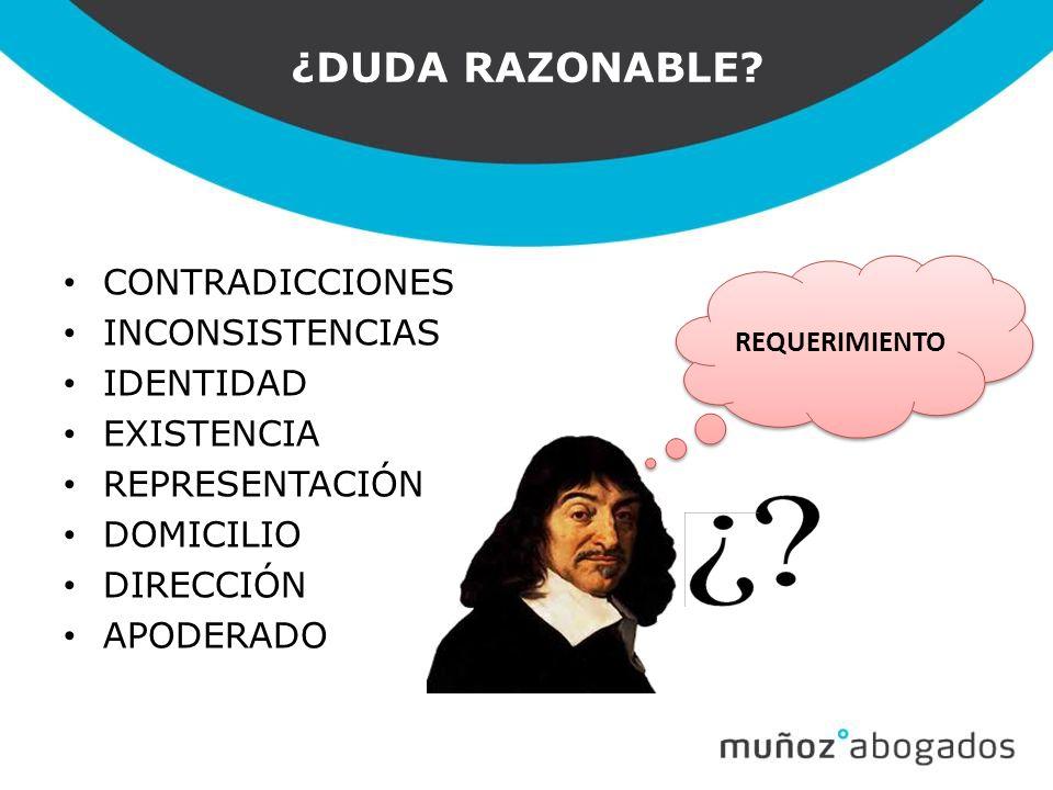 ¿DUDA RAZONABLE CONTRADICCIONES INCONSISTENCIAS IDENTIDAD EXISTENCIA