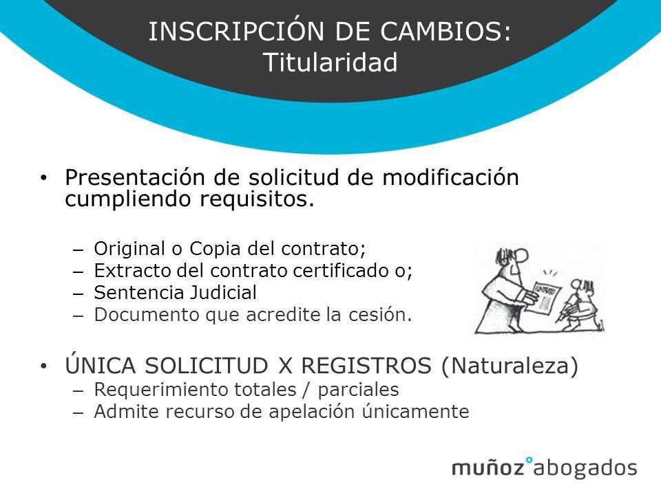 INSCRIPCIÓN DE CAMBIOS: Titularidad