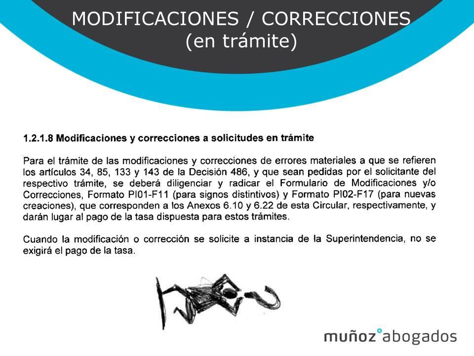 MODIFICACIONES / CORRECCIONES (en trámite)