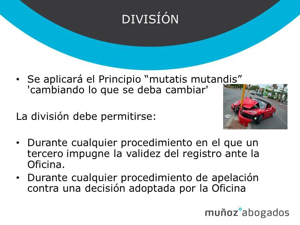 DIVISÍÓN Se aplicará el Principio mutatis mutandis cambiando lo que se deba cambiar La división debe permitirse: