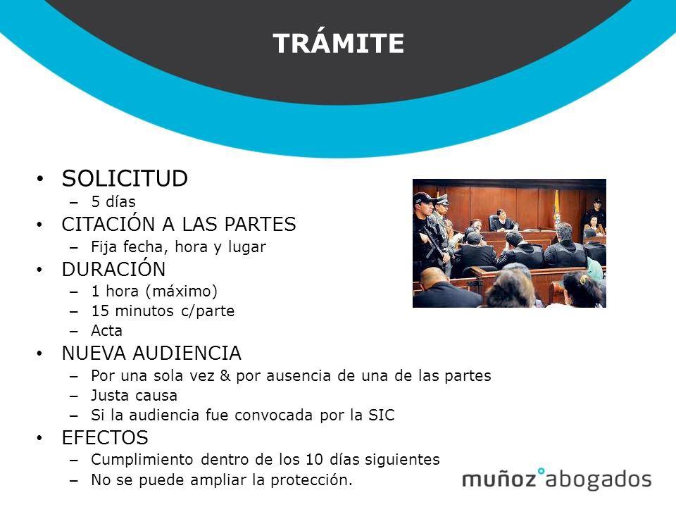 TRÁMITE SOLICITUD CITACIÓN A LAS PARTES DURACIÓN NUEVA AUDIENCIA