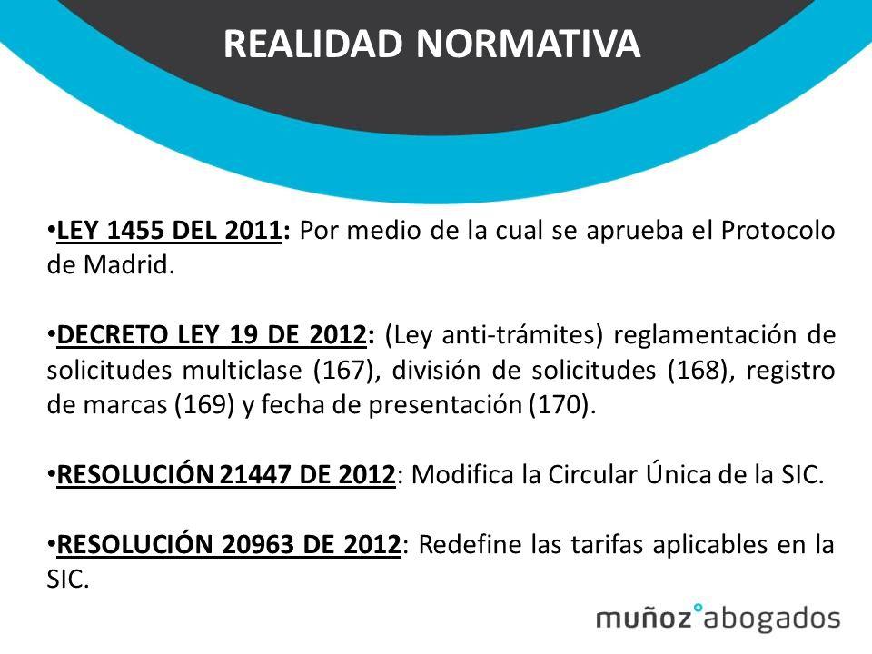REALIDAD NORMATIVA LEY 1455 DEL 2011: Por medio de la cual se aprueba el Protocolo de Madrid.