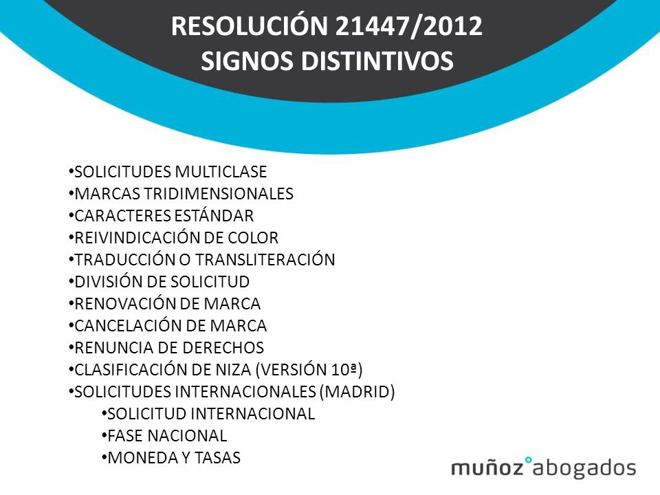 RESOLUCIÓN 21447/2012 SIGNOS DISTINTIVOS