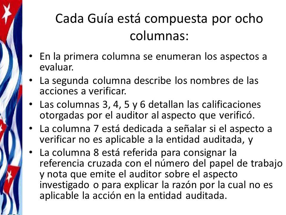 Cada Guía está compuesta por ocho columnas: