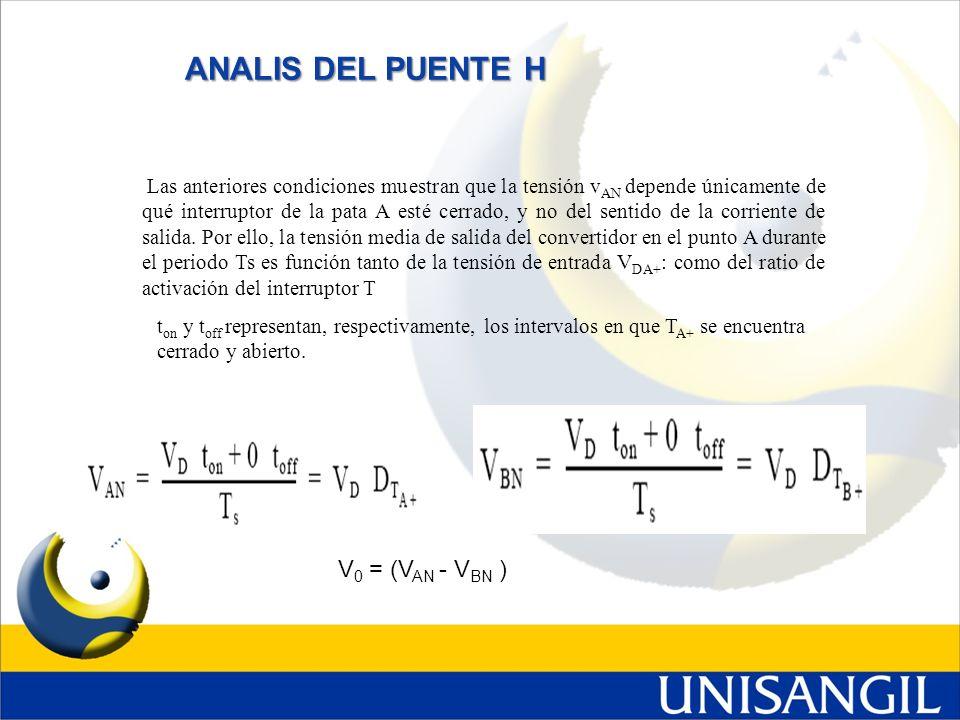 ANALIS DEL PUENTE H V0 = (VAN - VBN )